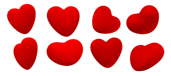 red hearts psd