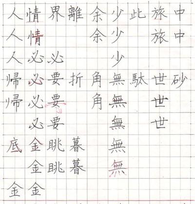 漢字楷書 ペン字
