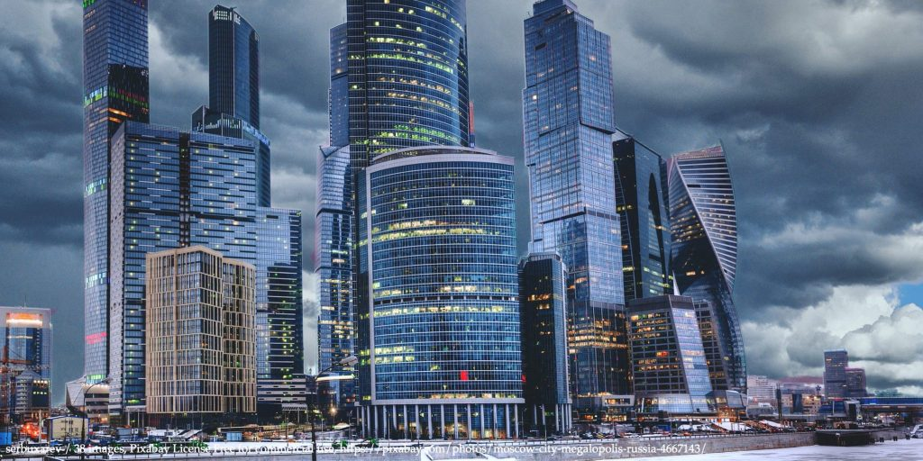 A view of central Moscow City at dawn representing the sudden stop of Russian economy