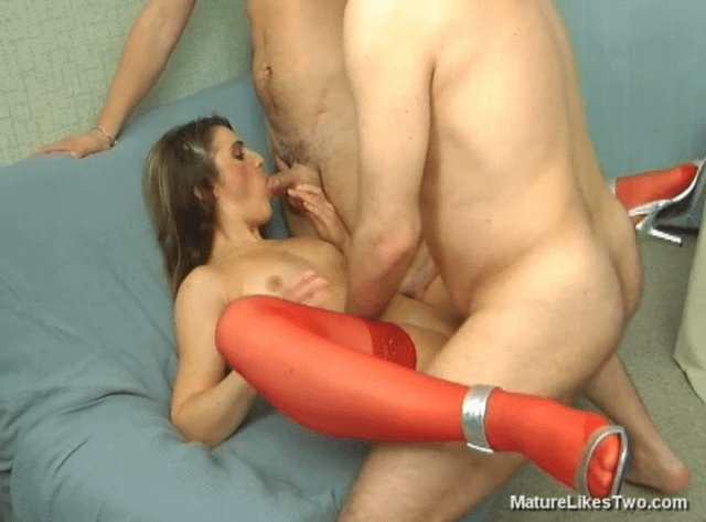 FreePornSiteRips.com - Horny MILF In Threesome Fucked By Two Younger Guys