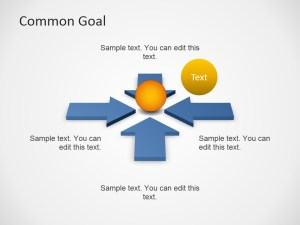 Free Common Goal Diagram Template with Arrows for PowerPoint