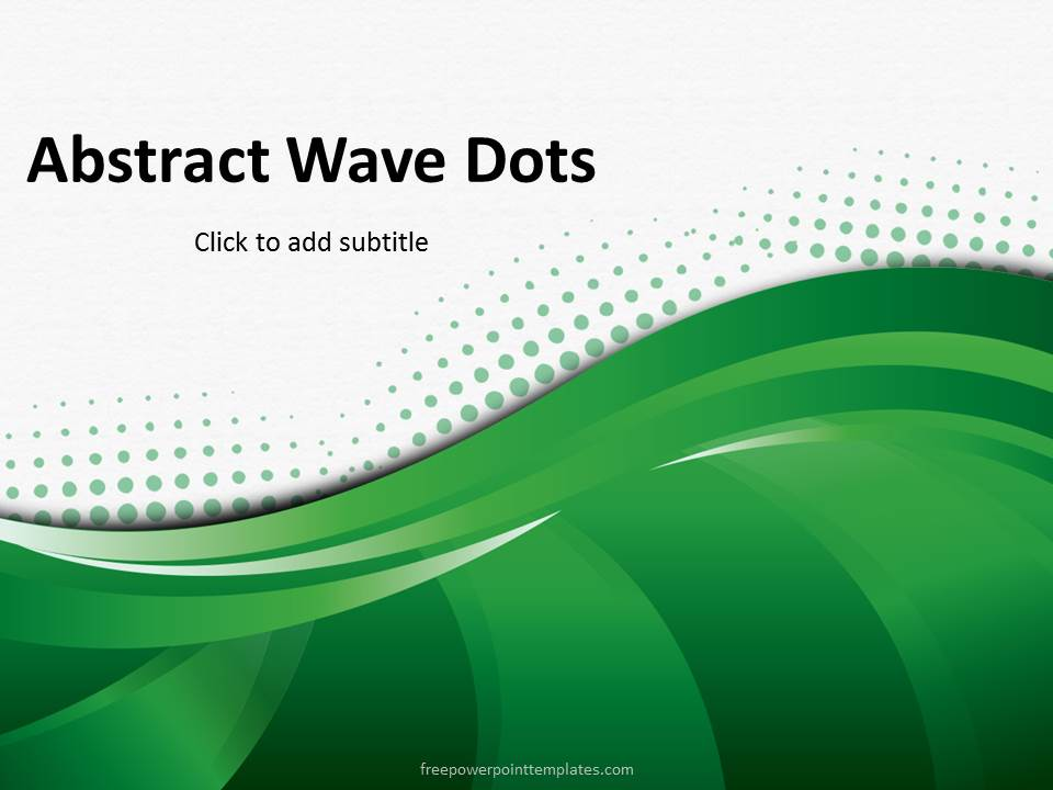 Free Abstract Green Wave Dots PowerPoint Template