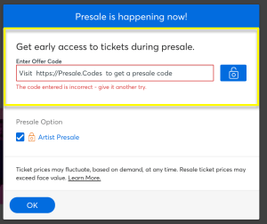 Visit https://presale.codes to get access to presale codes