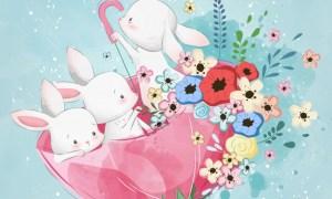 Cute bunnies in the spring umbrella 3923022