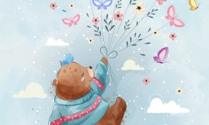 Vector Flying bear with butterflies 3923029