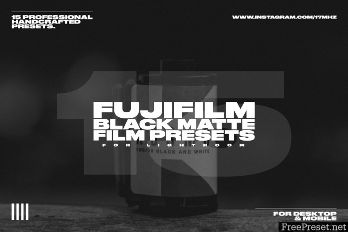 15 Fuji Film Black Matte LR Presets 3750479