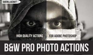 Black and white professional actions for Photoshop