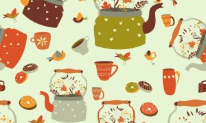 Seamless pattern background with tea - AI, EPS, JPG, PNG