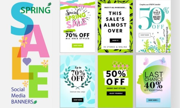 Spring sale banners DXAJ8WE