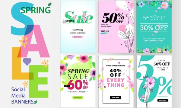 Spring sale banners T27YEP9