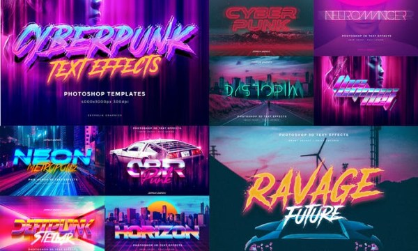 Cyberpunk 80s Text Effects  54AWETS