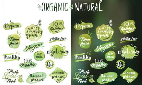 Organic food stickers and badges YKTYNA5