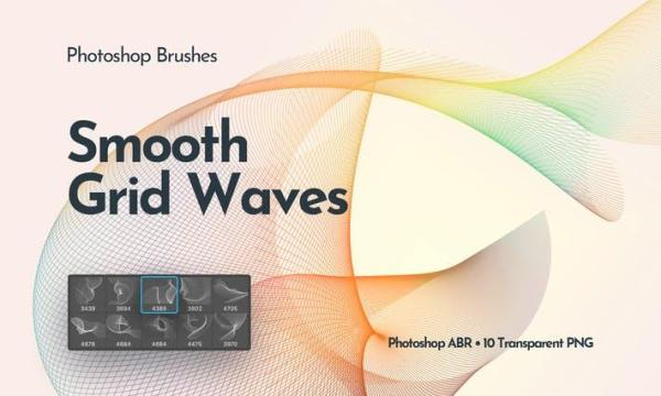 Flowing Network Waves Photoshop Brushes GC75H3R