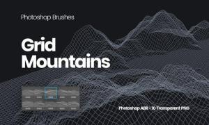Grid Mountains Photoshop Brushes EJQWSV