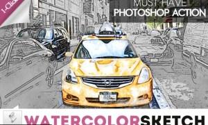 Watercolor Sketch Photoshop Action 321429