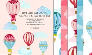 Hot Air Balloons clipart & pattern set RTLNNF3