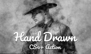 Hand Drawn CS4+ Photoshop Action NB7MWXD