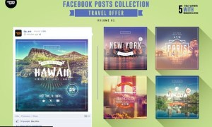 5 Facebook Banners Posts   Travel Offer vol I 4B7TESW