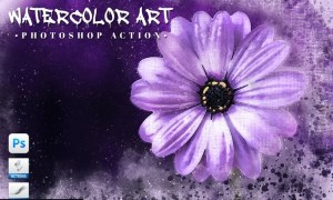 Watercolor Art Photoshop Action 98PAMJJ