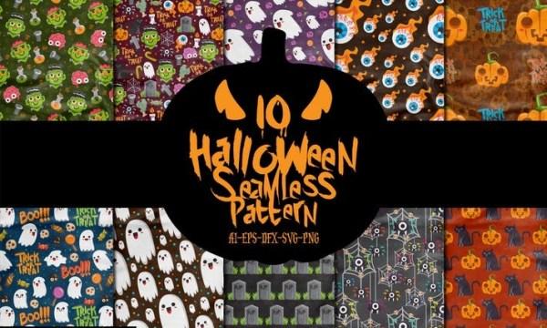 10 Boo Halloween Seamless Patterns Vol.1 V27534P
