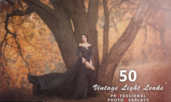 50 Vintage Light Leaks Photo Overlays 2M7BMHJ