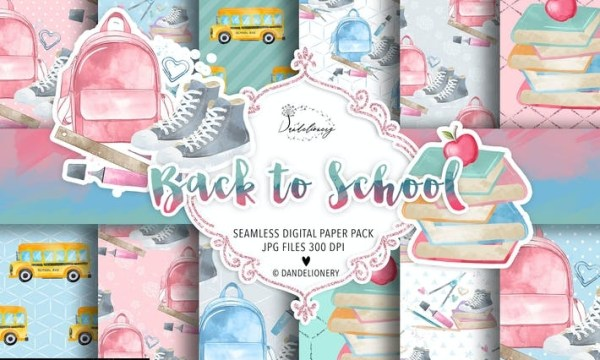Back to School digital paper pack 84ZS6BL