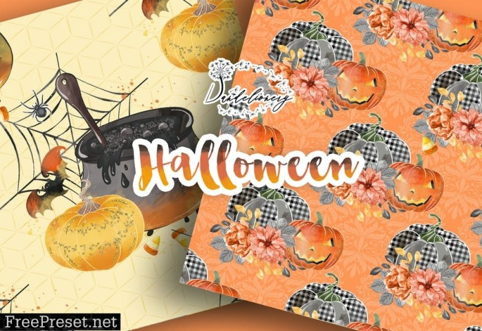 Happy Halloween digital paper pack KY2S3GN