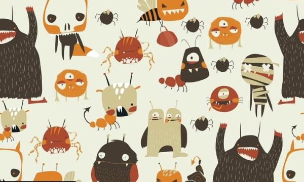 Vector seamless pattern with cute colorful monster 8MGMCEZ