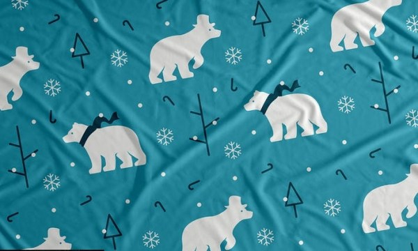 Polar Bear Snow Vector Seamless Pattern Background MPAEJPP