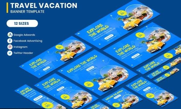 Travel Vacation Banners Ad M5RUCHY