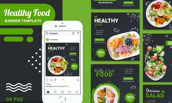 Healthy Food Banner Template GNMN8W3