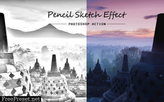 Pencil sketch   PSD action 4JNB3ND
