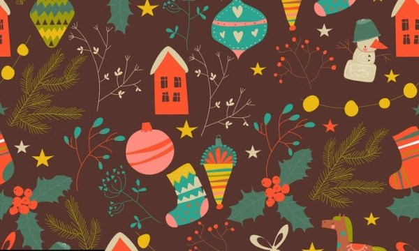 Vector seamless pattern with Christmas decoration TDMNC5D