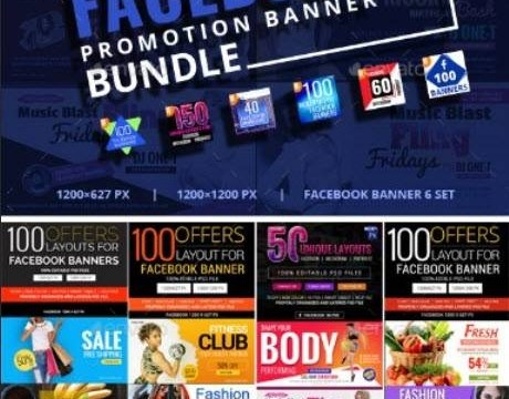 550 Facebook Banner Bundle 20457167This is a professional set of banner templates to promote on Facebook. The package includes 550 Photoshop designs with creative and unique layouts. Announce sales and special offers, launch a new product or promote your business. Ideal to be used by small and medium businesses, agencies, restaurants, hotels, coffee shops, photographers, designers or anyone that promotes on social media. PSD files are easy to adapt. Just place your image using with smart objects and customize with the text you want. FEATURES  550 Facebook Banner templates. Professional and creative design. Easy to adapt and customize (text is editable). Fully layered and well organized PSD files. Vector shapes (fully scalable). Smart objects. Multipurpose use. Free fonts used included. Fonts