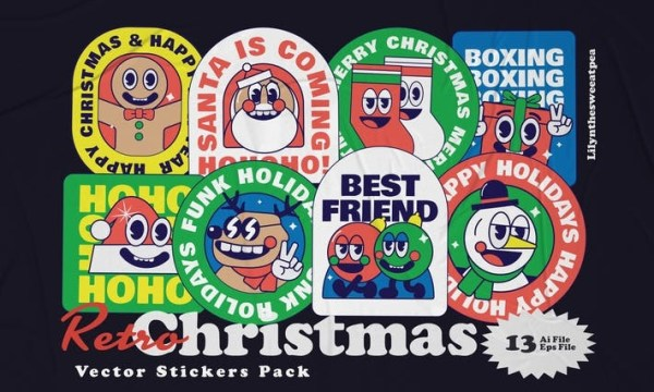 Christmas Sticker Illustration Pack 4ASBK73Christmas Sticker Illustration pack  File Features  16 AI Files + 16 EPS File 16 Pack Illustration set Size A4 (8.27x11.69 In) 300 DPI Easy Color Change Font  bowlby-one https://www.fontsquirrel.com/fonts/bowlby-one