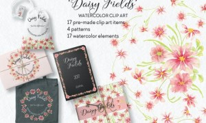 Daisy Fields Watercolor Clip Art Bundle RMJ9F35