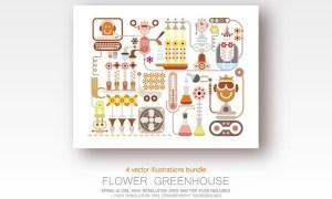 Flower Greenhouse bundle of 4 vector illustrations KULRKG