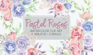 Pastel Roses Watercolor Mini Bundle FWMS5A9