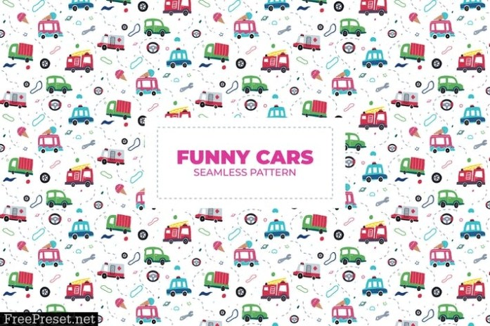 FUNNY CARS - SEAMLESS PATTERN TEG5P6G