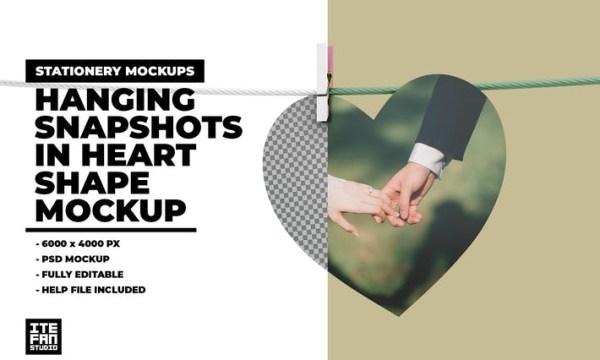 Hanging Snapshots In Heart Shape Mockup 4T4KF6U
