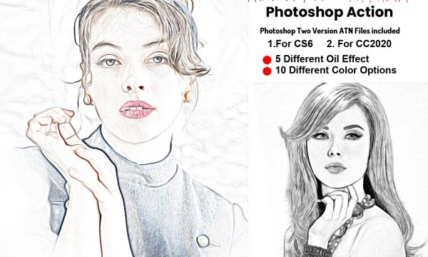 Oil Sketch Portrait Photoshop Action 5912606