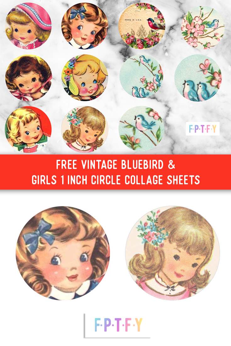 Circle Collage : circle, collage, Vintage, Bluebird, Girls, Circle, Collage, Sheets, Pretty, Things