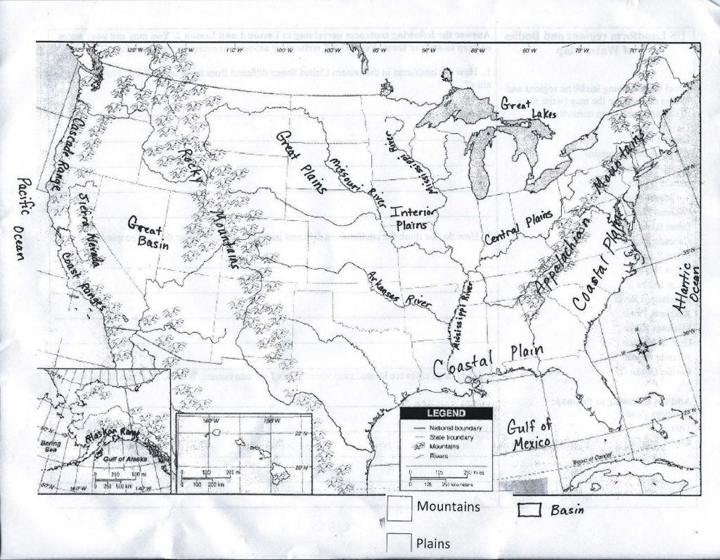 Physical Map Of The United States Printable