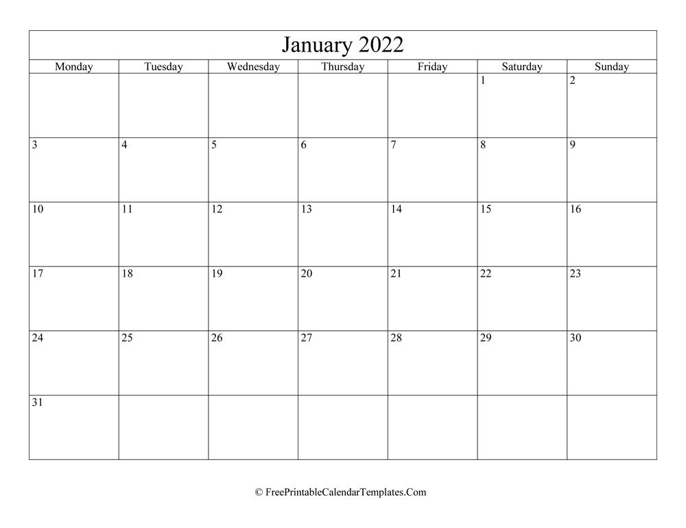 Blank Editable January Calendar 2022 (Landscape)