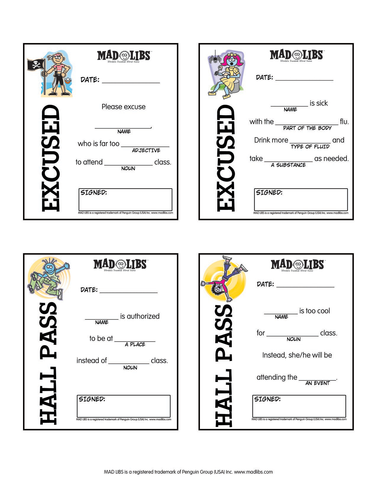 Free Printable Mad Libs For Middle School Students