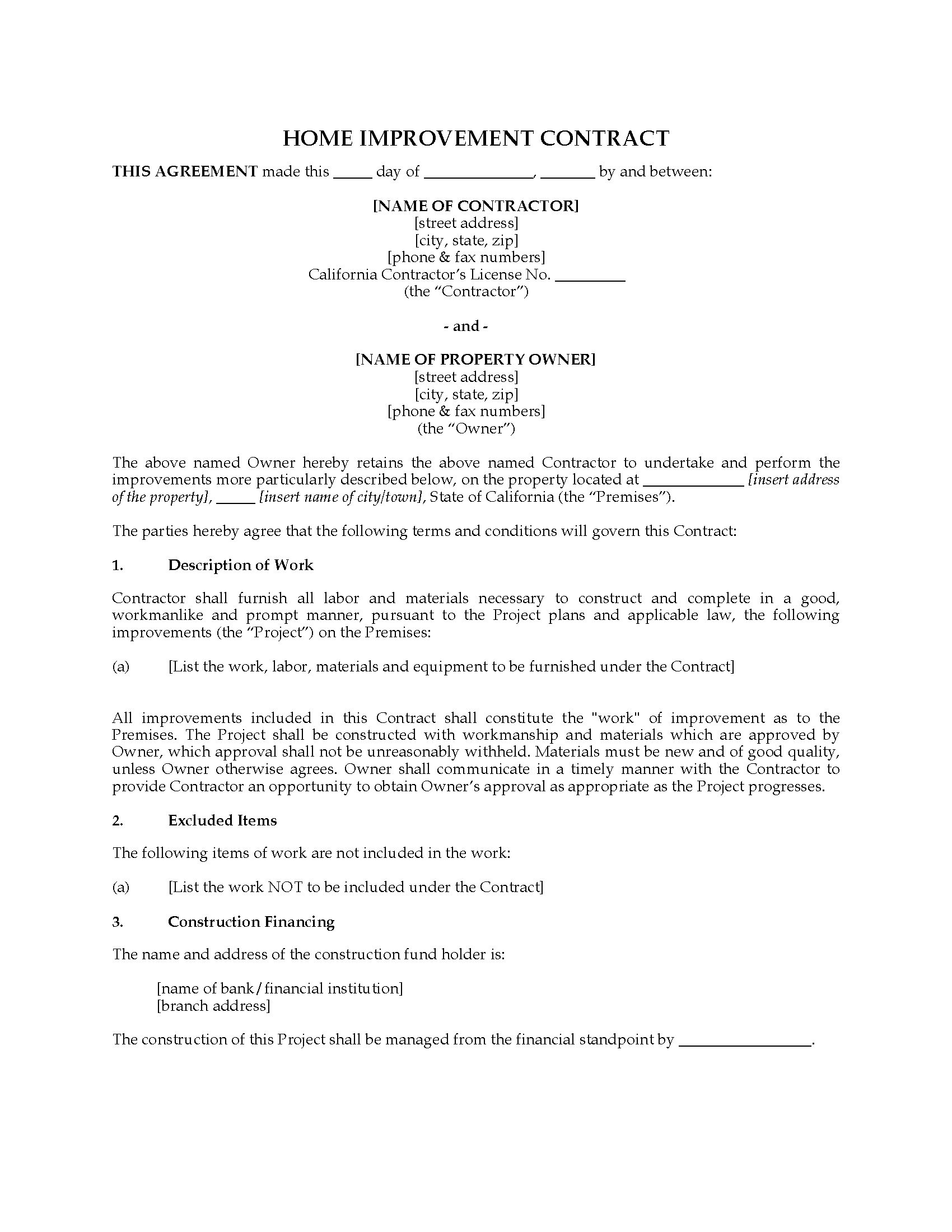 Free Printable Home Improvement Contracts