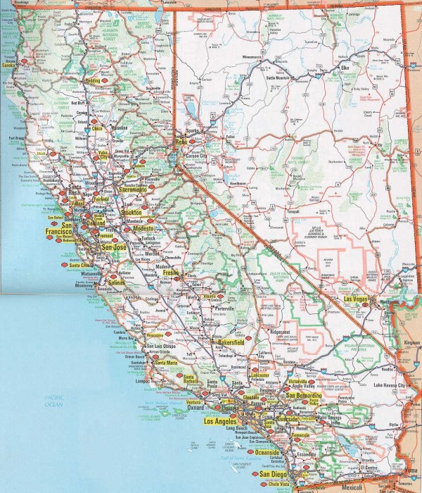 Printable Map of Detailed Road Map of California Road