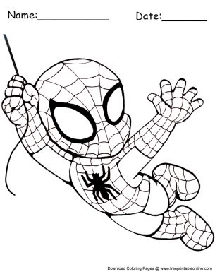 Easy Spiderman Coloring Pages : spiderman, coloring, pages, Swinging, Chibi, Spiderman, Coloring, Sheet