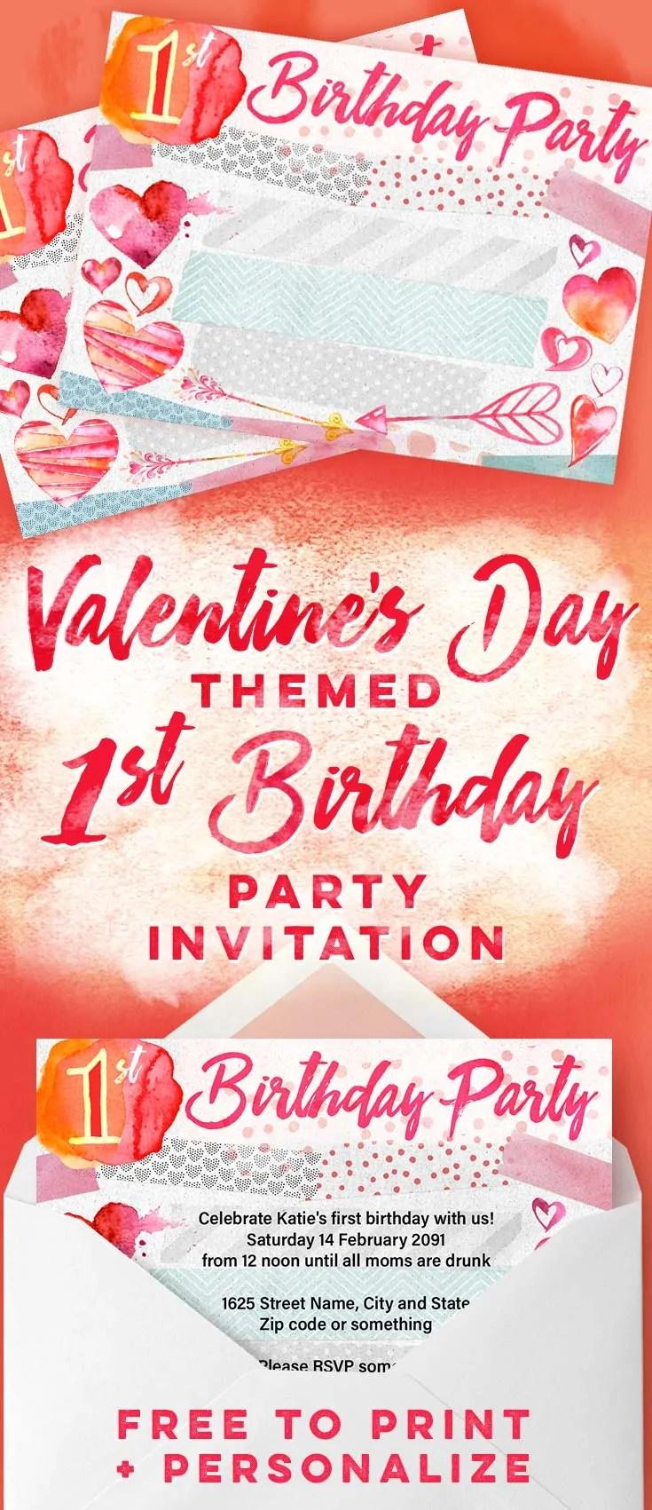 Valentines Day 1st Birthday Party Invitations Free