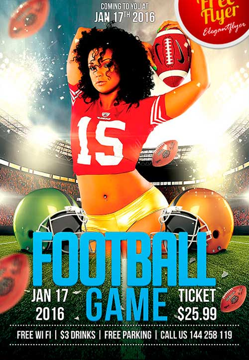 FreePSDFlyer | Download Free Football Game PSD Flyer Template